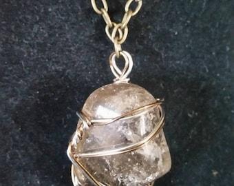 Smokey Quartz Wire Wrapped Necklace