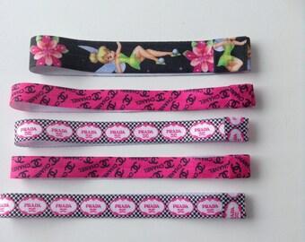 set of 5 stretch print elastic headband