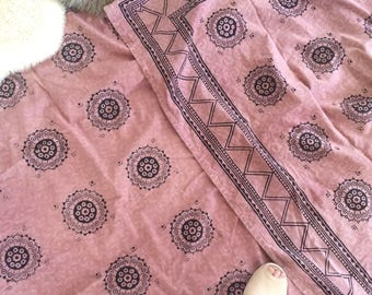vintage cotton bed cover, mud cloth style, made in India, salmon pink type colour