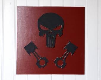 Décoration murale tête de mort, punisher, pistons, décoration murale rouge, noir et blanc - wall decoration with a skull and pistons, red