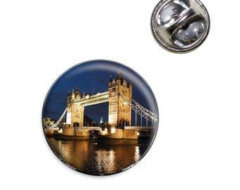 Tower Bridge London Night Lapel Hat Tie Pin Tack