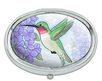 Hummingbird With Hydrangeas Metal Oval Pill Case Box