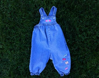 Vintage 90's girls baby denim overalls with butterflies size 6-9 months