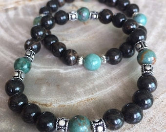 Bloodstone and Black Obsidian Stretch Bracelet! Handmade Australian Premium Beads Healing Bracelet! Natural Healing Jewelry Meditation
