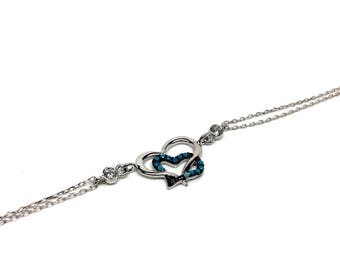 Stunning Women's Blue Heart 925 Sterling Silver bracelet, Rose Gold & Silver colours available. Gifts box included. Birthday gift for Women