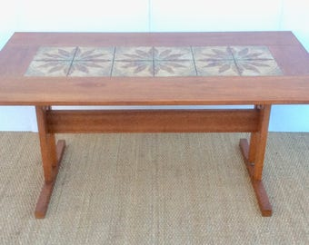 "Danish "" GANGSO "" Teak Dining Table with Tiled Top , 1960,s"