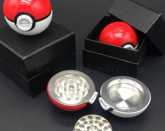 Zinc Alloy Plastic Garlic Pokemon Ball Weed Herb Grinder Pokeball Aroma Box