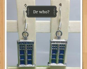 TELEPHONE BOX TARDIS Dr who earrings phone box earrings phone booth earrings tardis earrings police box earrings blue earrings tv earrings