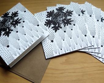 SET OF 6 Snowflake Greeting Card