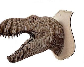 Cardboard Tarbosaurus trophy head