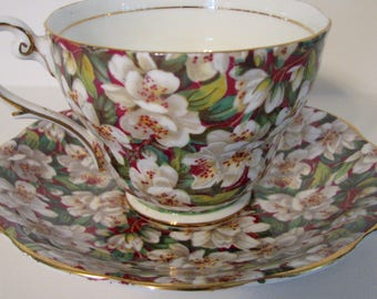 SPRING SALE Vintage Teacup and Saucer Royal Standard Chintz Peach Tree England