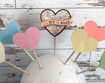 Atlas Cartography World Map Hit the Road Heart Cupcake Topper, Cake Topper, Food Embellishment, Party, Shower, Decoration