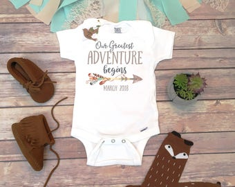 Our Greatest Adventure Begins Pregnancy Announcement Onesie®, Pregnancy Reveal to Parents, Adventure Onesie, Coming Soon Baby Announcement