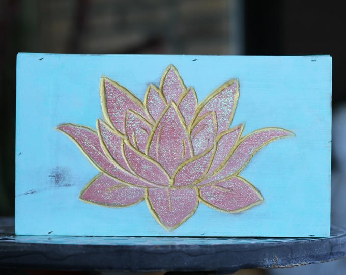 Handcarved Pink Glitter Lotus Flower Wood Wall Hanging