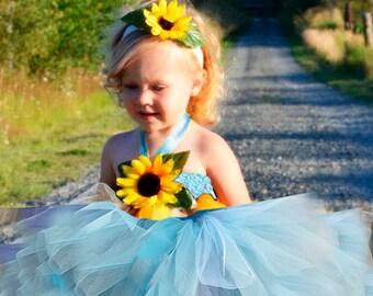 Sunflower Sky blue dress Easter Flower girl dress-Yellow flower tutu dress Sunflower dress baby dress toddler birthday dress wedding dress
