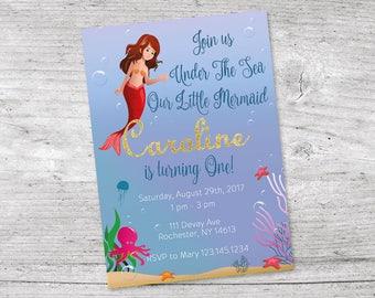 Mermaid Invitation, Birthday Party Invitation, Under The Sea Birthday Party Invitation