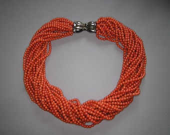 Vintage Coral Torsade Necklace with Sterilng Silver Bow Clasp - 232g