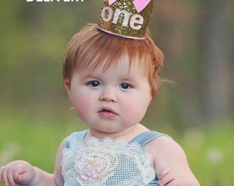 First Birthday Crown, Birthday Party Hat, First Birthday Smash Cake Glitter Crown, Baby Girl 1st Birthday Hat Gold and Pink