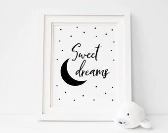 Sweet Dreams Printable Nursery Art Decor, Monochrome Nursery Wall Art, Modern Baby Room Digital Art *Instant Download PDF & JPG*