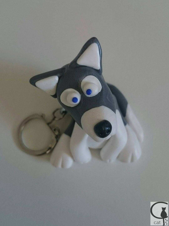 Porte cl s en p te fimo chien husky - Porte cle en pate fimo ...