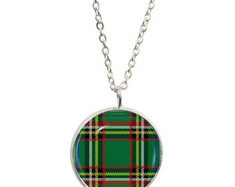 Green Tartan Pendant and Silver Plated Necklace