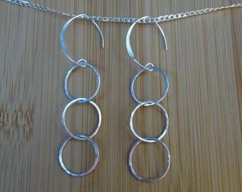 Sterling silver drop earrings, sterling silver hammered earrings, silver dangle earrings, Silver jewellery