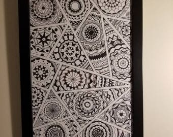 Mandalas abstract patterns black and white 11x17 inch hand drawn art piece
