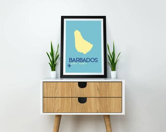 """Travel Poster - 8x10"""" Instant Download Barbados Art Print, Barbados Map, Minimalist Travel Poster, Barbados Poster, Map Poster, Travel Print"""