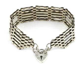 Heavyweight Vintage Silver Gate Bracelet - c.1979