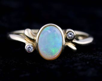 Vintage 9ct Gold Opal and Diamond Dress Ring