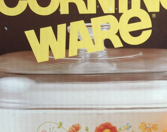 70s Corning Ware Dish, New in Box  2 1/2-QT Corning Ware Covered Casserole, Wild Flower Corning Dish, Art Deco Kitchen