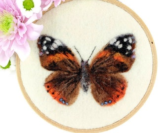 Butterfly Wool Painting, Original Butterfly Art, Needle Felted Butterfly, Butterfly Wall Hanging, Butterfly Hoop Art, Butterfly Décor