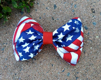 American Hound Dog Bow Tie, USA Flag Pet Tie, Fourth of July Bow Tie