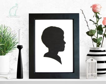 Wooden profile silhouette, Custom wooden silhouette, Framed silhouette, Profile portrait, Custom wooden portrait, Silhouette from photo