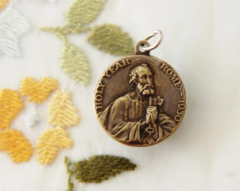 Vintage Brass St. Peter & Pope Pius XII Medal