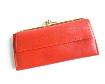 Red wallet, Red vintage wallet, Vintage purse, Red purse, Red purse, Vintage bag in red, Vintage bag