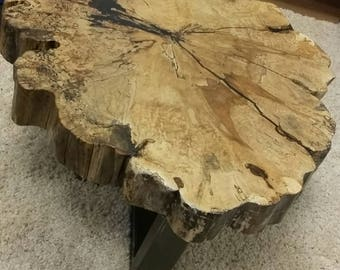 Rare and Unique, Gorgeous Spalted Maple Live Edge, Slab Coffee Table with Custom Steel Legs