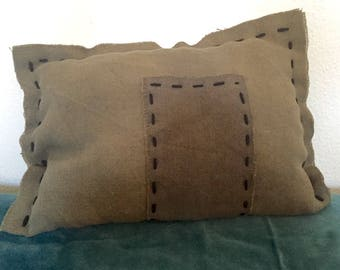 Unique embroidered cushion kaki
