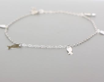 Fish Anklet, Beach Anklet,Silver Foot Chain, Thin Chain Anklet, Bohemian Anklet, Minimalist Anklet, Gypsy Anklet, Summer Jewelry AS91