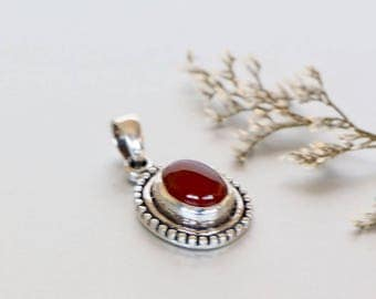 Carnelian And Silver Necklace, Stone Pendant, Silver Chain Necklace , Silver Charm, Delicate Pendant, Wedding Gifts, Bohemian, (P105)