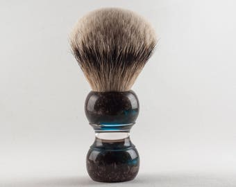 Shaving Brush - Black Anvil - Blue Copper  Violin. High Mountain White