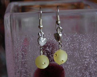 polaris yellow 8mm and silver heart charm earrings.