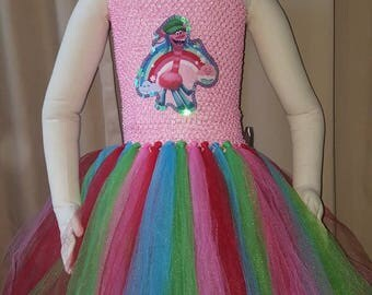 Trolls Cooper Tutu Dress. Pink with rainbow skirt. Fits approximat 3T to girls size 6.
