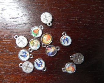 Set of 5 Christian medals 10 x 12 mm
