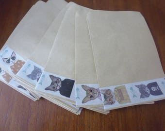 COLLECTION of cats in costume: 15 Kraft envelopes and decorated measuring 9 x 13 cm open