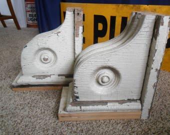 Antique Corbels~Solid Wood~Chippy White Paint~Pair~Circle Design~Architectual Salvage~Shelf Brackets~Porch Brackets~