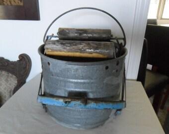 Vintage Galvanized Mop Bucket~Wood Rollers~Metal Bucket