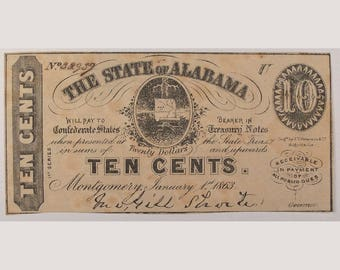 "1863 ""State of Alabama"" – ""Ten Cents"" - Currency"