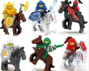6 Custom Nexo Knights minifigures with 6 horses minifigures gift lot