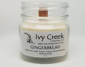 Gingerbread Candle, Gingerbread, Natural Candle, Wood Wick Candle, Crackle Candle, Soy Candle, Wood Wick Candle, Gifts for Her, Fall